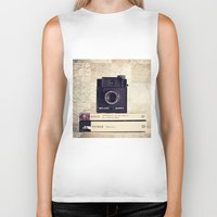 Vintage black camera and Joyce and Dracula books on Map pattern background  Biker Tank