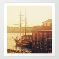 Tall Ship on Waterfront Art Print