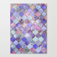 Royal Purple, Mauve & Indigo Decorative Moroccan Tile Pattern Canvas Print