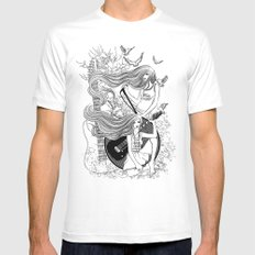 Music, Love, Peace Mens Fitted Tee White SMALL