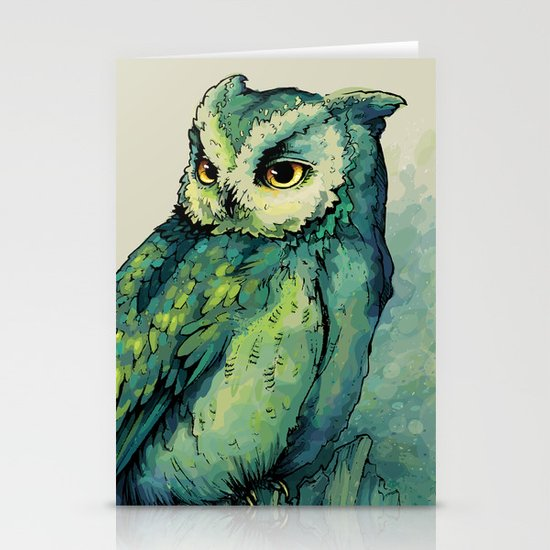 Green Owl Stationery Card