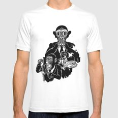 Three Wise Monkeys Mens Fitted Tee White SMALL