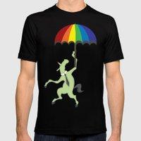 Rainbow Umbrella Mens Fitted Tee Black SMALL