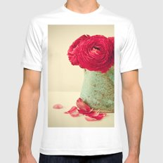 Red Petals SMALL White Mens Fitted Tee