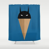 Black Vanilla Bat Shower Curtain