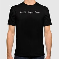 FAITH HOPE LOVE - B & W Mens Fitted Tee Black SMALL