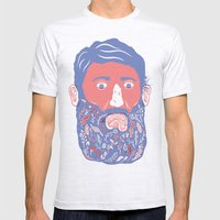 Flowers In Beard Mens Fitted Tee Ash Grey SMALL