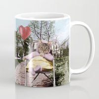 Pretty little Kitty with a heart balloon Mug