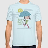 Keep Trying Sun! Mens Fitted Tee Light Blue SMALL