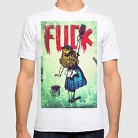 Writing Fuck Mens Fitted Tee Ash Grey SMALL