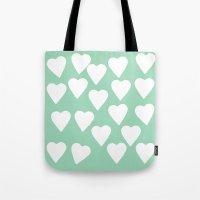 Mint Hearts Tote Bag