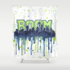 Seattle 12th Man Seahawks Painting Legion of Boom Art Shower Curtain