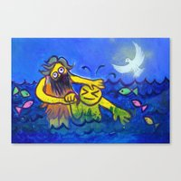 John Baptizes Jesus (by … Canvas Print