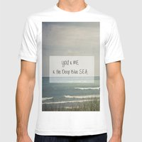 You & Me & The Deep Blue Sea Mens Fitted Tee White SMALL