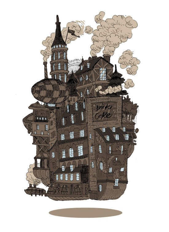 Flying city. Art Print