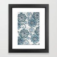 Navy Blue Floral Doodles… Framed Art Print