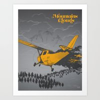 Mountains Hide in Clouds II - Gray Art Print