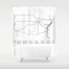 Amtrak Passenger Rail System Map Shower Curtain