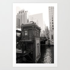 Black and White Chicago River Boat House Photography Art Print