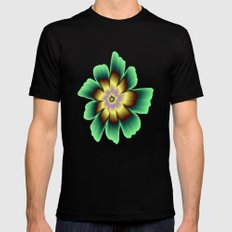 Gold and Green Daisy Flower on Pink SMALL Mens Fitted Tee Black
