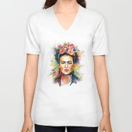 Unisex V-Neck featuring Frida Kahlo by Tracie Andrews
