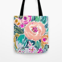 PEACH SPIN FLORAL Tote Bag