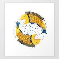 swimming circle Art Print