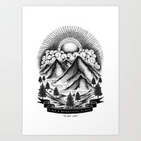 FIND A BEAUTIFUL PLACE TO GET LOST (White) Art Print