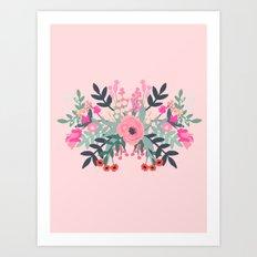 Pink bouquet Greeting card Art Print