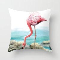 fenicotteri rosa Throw Pillow