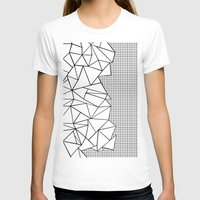 Abstraction Outline Grid… Womens Fitted Tee White SMALL