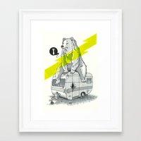 Camping Bear Framed Art Print