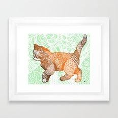 Zentangle Kitten (Orange/Green) Framed Art Print
