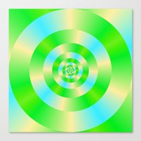 Green Blue and Yellow Concentric Circles Canvas Print