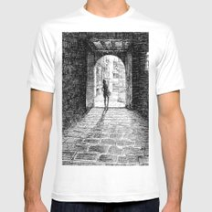 Light - Black ink SMALL White Mens Fitted Tee