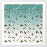 Mint Gold Blue Watercolor Dragonflies Art Print