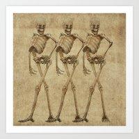 walking skeleton beauties Art Print