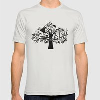 :) animals on tree Mens Fitted Tee Silver SMALL