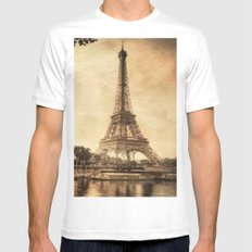 Vintage Eiffel Tower 2 Mens Fitted Tee White SMALL