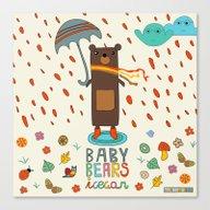 Baby Bears Icecar Canvas Print