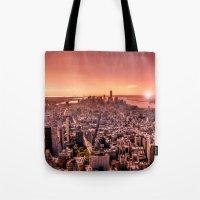Manhattan In Red Tote Bag