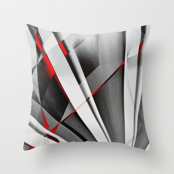Throw Pillows Girly : Red Gray Abstractum Throw Pillow by Max Steinwald Society6