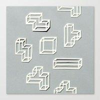 Tetris Papercut Canvas Print