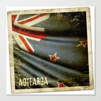 Grunge sticker of New Zealand flag Canvas Print