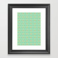 Repeated Retro - Turquoi… Framed Art Print
