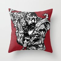 Horror Doodle Throw Pillow