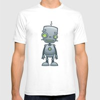 Silly Robot Mens Fitted Tee White SMALL