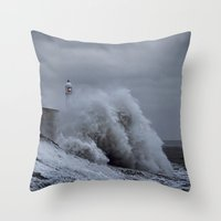 Waves at Porthcawl Throw Pillow