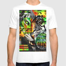 Tiger. White Mens Fitted Tee SMALL