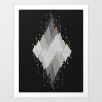 Flocking Mountain Lights Art Print
